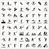 Large set of sports symbols including all the major winter and summer sports.