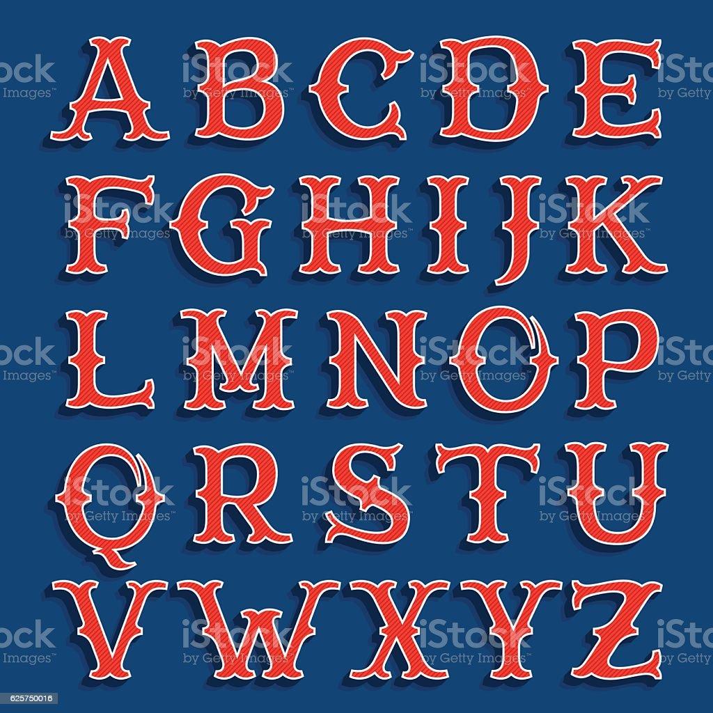 Sport team classic style font. vector art illustration