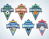 Sport team emblems, pennants. Sport badge for tournament or championship.