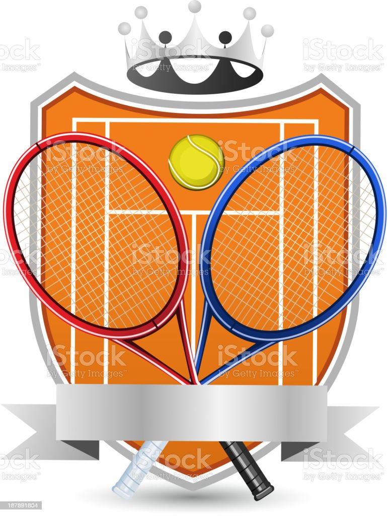 Sport Tennis Field with racket and ball crowned Emblem royalty-free sport tennis field with racket and ball crowned emblem stock vector art & more images of all star