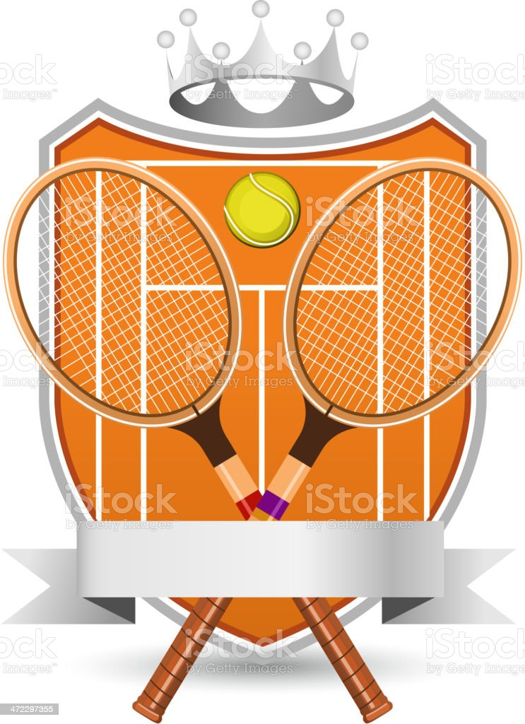 Sport Tennis Field with racket and ball silver crowned Emblem vector...
