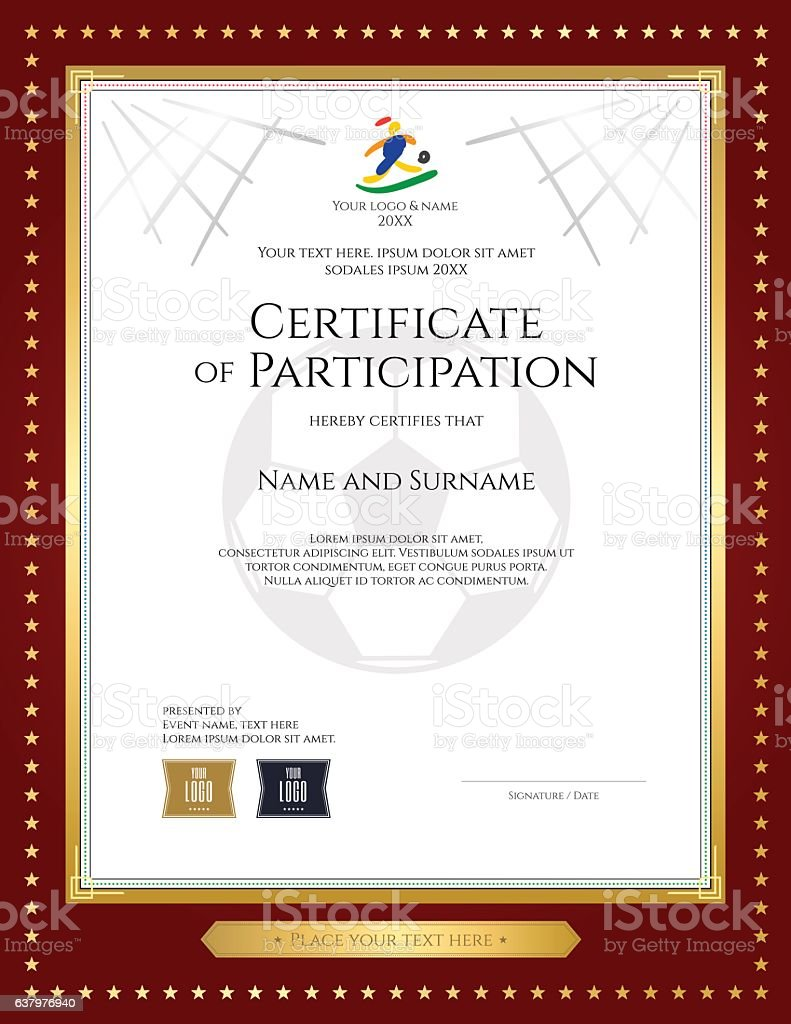 Sport Theme Certificate Of Participation Template For Football