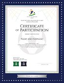 Sport theme certificate of participation template for football match with gold star blue border