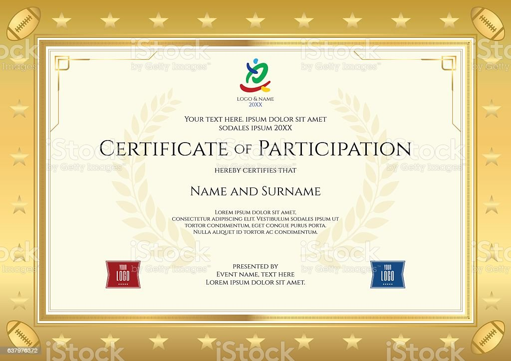 Sport Theme Certificate Of Participation Template For Rugby Event Stock  Vector Art U0026 More Images Of Achievement 637976372 | IStock  Certificate Of Participation Template