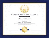 Sport theme certification of excellence template for football competition match with gold trophy