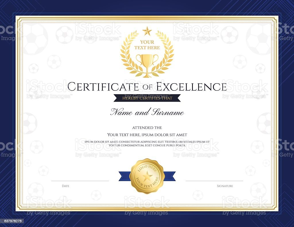 Sport theme certification of excellence template for football event – Vektorgrafik