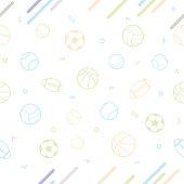 Sport theme seamless pattern background; football; baseball; volleyball; basketball