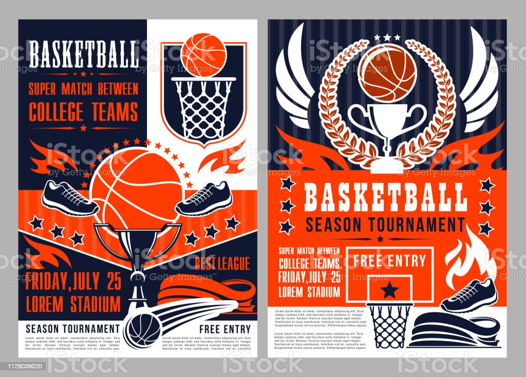 Basketball sport season tournament poster with heavy ball and trophy....