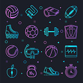 Sport training and performance constellation line gradient style symbols. Line design vector icons set for infographics, mobile and web designs.