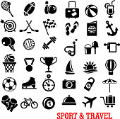 Black sport and travel icons set with ball, airplane, passport, camera, luggage, sun, medal, trophy, flag, stopwatch, target, dumbbell, shoes skate diving mask cocktail boat umbrella beach anchor racket bicycle