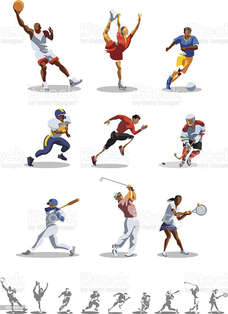 Sport types vector art illustration