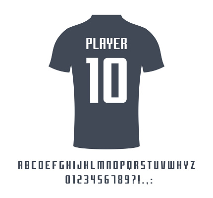Sport universal font for soccer, football, baseball or basketball team logo, t-shirt. Athletic player name typeface. Letters, numbers for equipment design.
