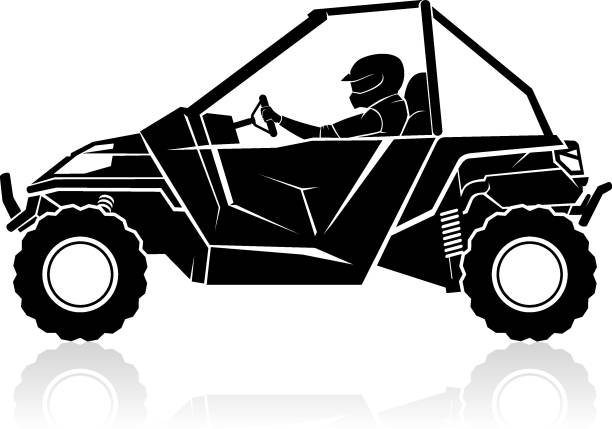 Sport Utility All Terrain Vehicle Side View Isolated vector illustration of transportation silhouette of ATV or Sport UTV, outdoor adventure quadbike stock illustrations