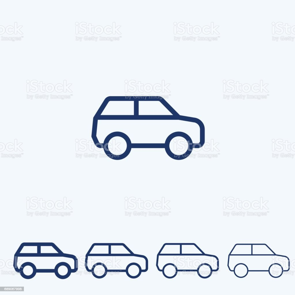 Sport Utility Vehicle SUV Vector, line icon vector art illustration