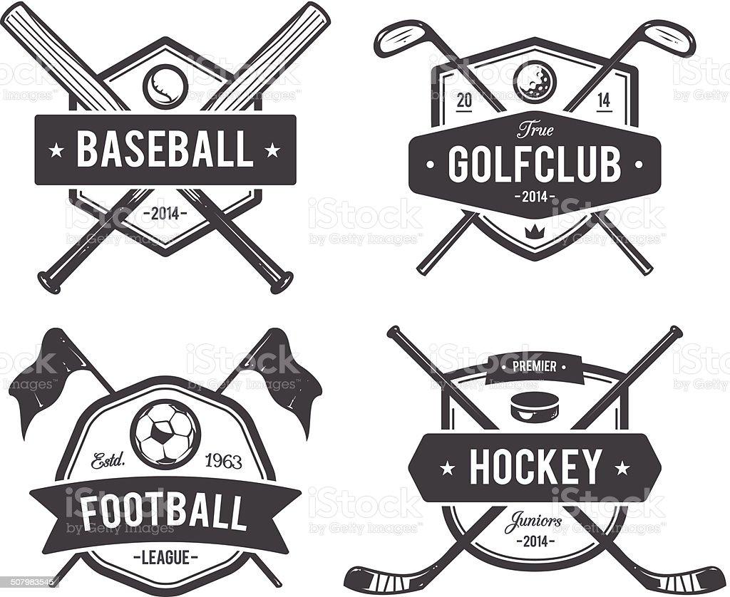 Sport-Embleme in verschiedenen Farben – Vektorgrafik