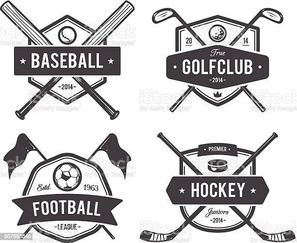 Vector set of retro styled sport emblems. Team sport badges and design elements.