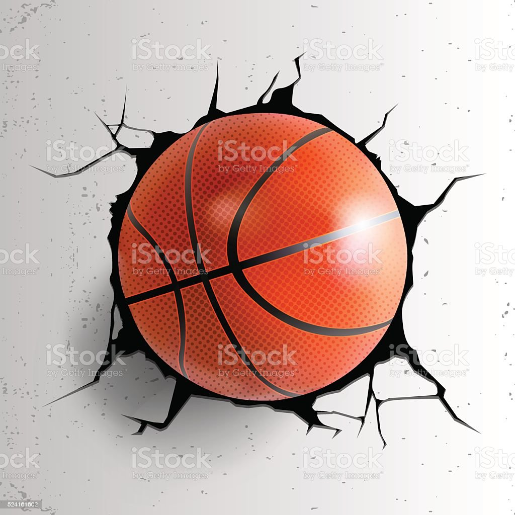Sport vector illustartion with basketball ball coming in cracked wall vector art illustration