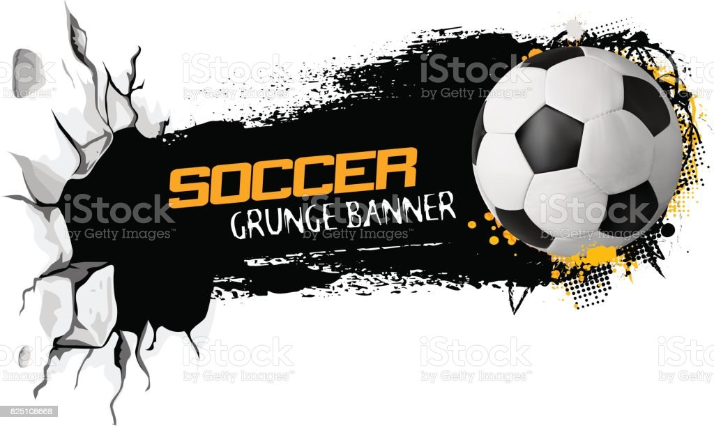 Sport vector illustration with soccer ball flying from cracked earth