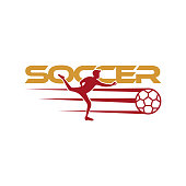 Soccer player kicks the ball. Sport Vector illustration with the soccer text and with soccer player below. Soccer , icon, mobile, website design template isolated on white background.