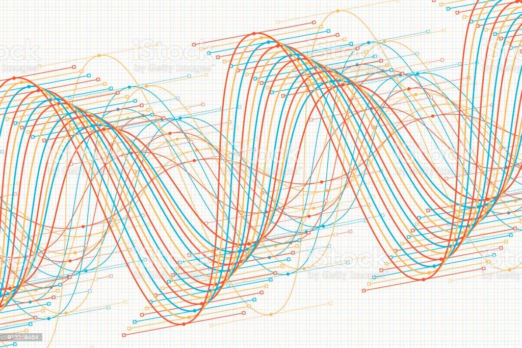 Sport Vector Sine Wave Graph Pattern Horizontal vector art illustration