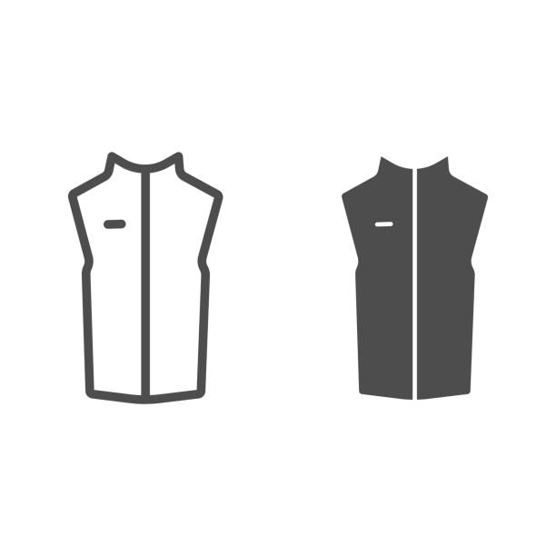 Sport vest line and solid icon, Outdoor clothing concept, sleeveless jacket sign on white background, waistcoat with zipper icon in outline style for mobile concept and web design. Vector graphics. Sport vest line and solid icon, Outdoor clothing concept, sleeveless jacket sign on white background, waistcoat with zipper icon in outline style for mobile concept and web design. Vector graphics hot pockets stock illustrations