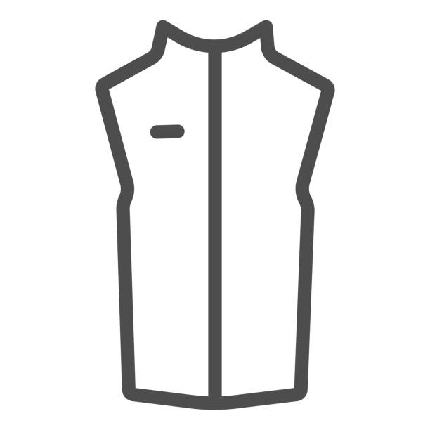 Sport vest line icon, Outdoor clothing concept, sleeveless jacket sign on white background, waistcoat with zipper icon in outline style for mobile concept and web design. Vector graphics. Sport vest line icon, Outdoor clothing concept, sleeveless jacket sign on white background, waistcoat with zipper icon in outline style for mobile concept and web design. Vector graphics hot pockets stock illustrations