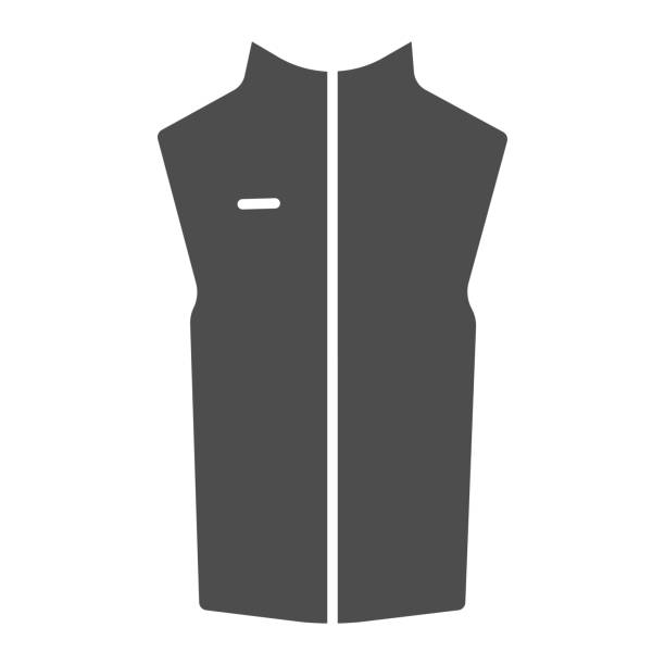 Sport vest solid icon, Outdoor clothing concept, sleeveless jacket sign on white background, waistcoat with zipper icon in glyph style for mobile concept and web design. Vector graphics. Sport vest solid icon, Outdoor clothing concept, sleeveless jacket sign on white background, waistcoat with zipper icon in glyph style for mobile concept and web design. Vector graphics hot pockets stock illustrations