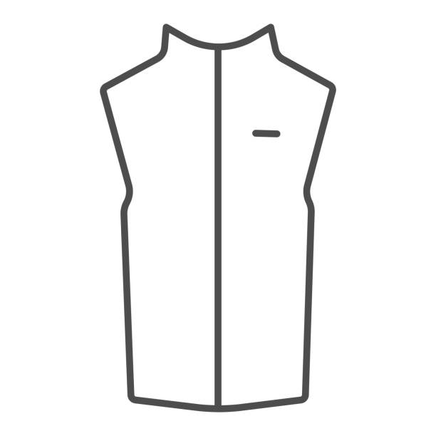 Sport vest thin line icon, Outdoor clothing concept, sleeveless jacket sign on white background, waistcoat with zipper icon in outline style for mobile concept and web design. Vector graphics. Sport vest thin line icon, Outdoor clothing concept, sleeveless jacket sign on white background, waistcoat with zipper icon in outline style for mobile concept and web design. Vector graphics hot pockets stock illustrations