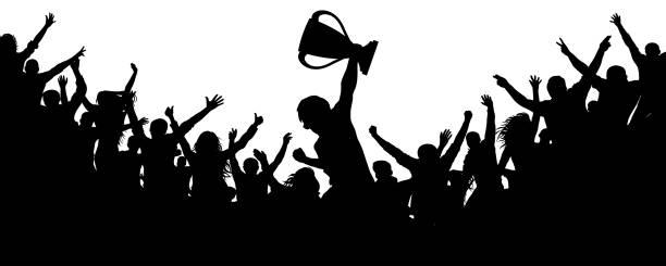 stockillustraties, clipart, cartoons en iconen met sport overwinning cup. juichende menigte fans silhouet. сrowd van mensen sport fans, vector. gejuich van applaus - samen sporten