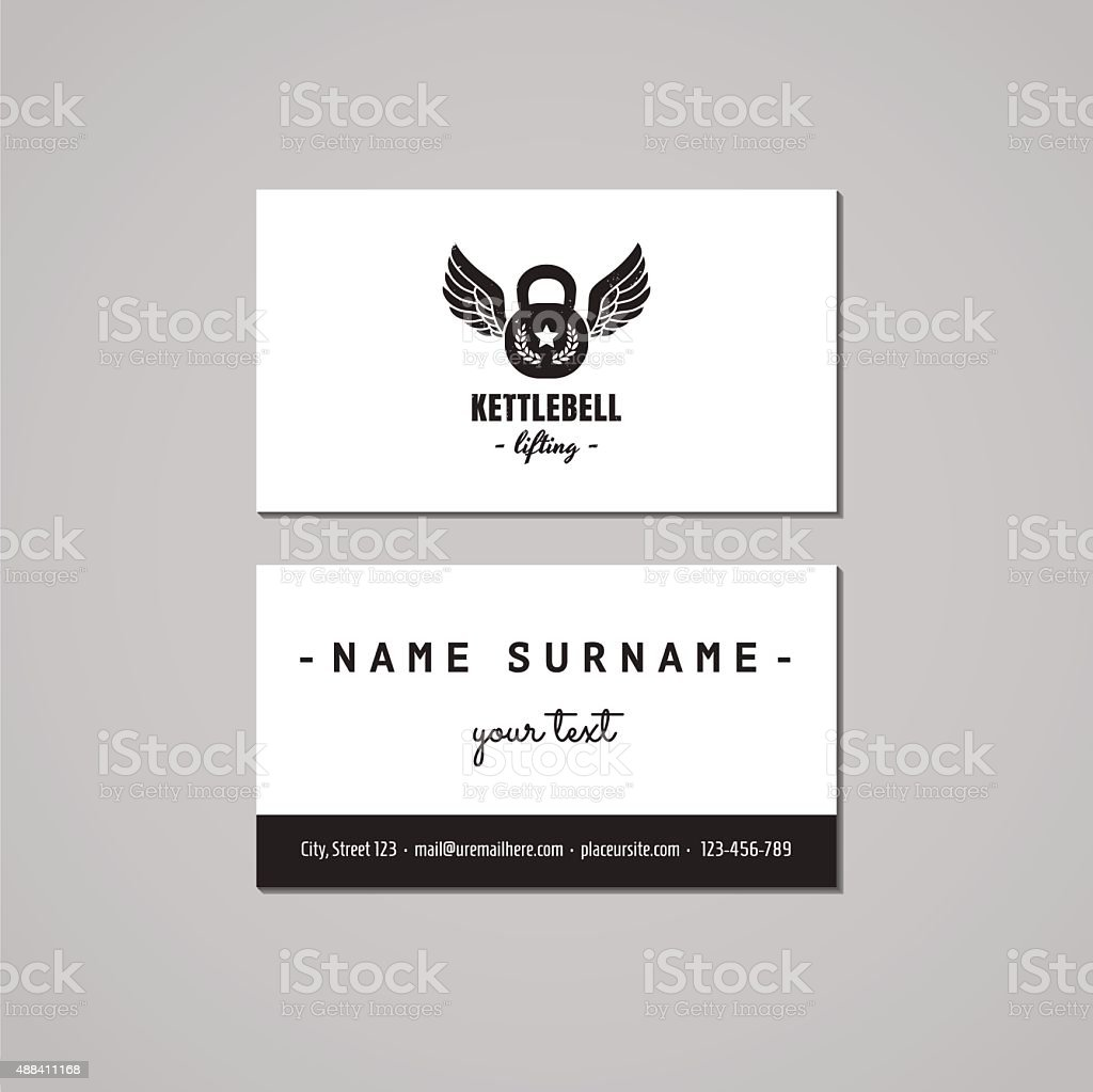 Sport Vintage Business Card Design Concept Logo With Kettlebell ...