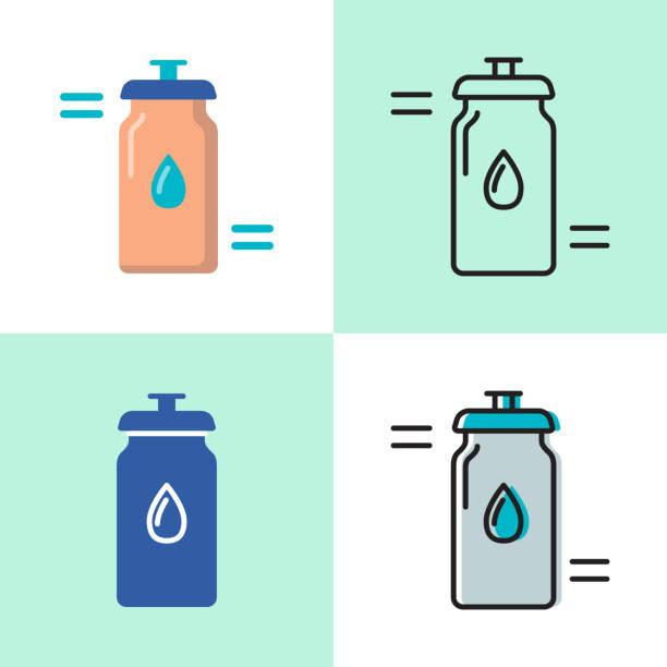 illustrations, cliparts, dessins animés et icônes de icône de bouteille d'eau de sport définie dans les styles plats et linéaires - bouteille d'eau