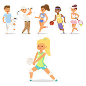 Sport wellness vector people characters sporting man activity woman sporty athletic illustration