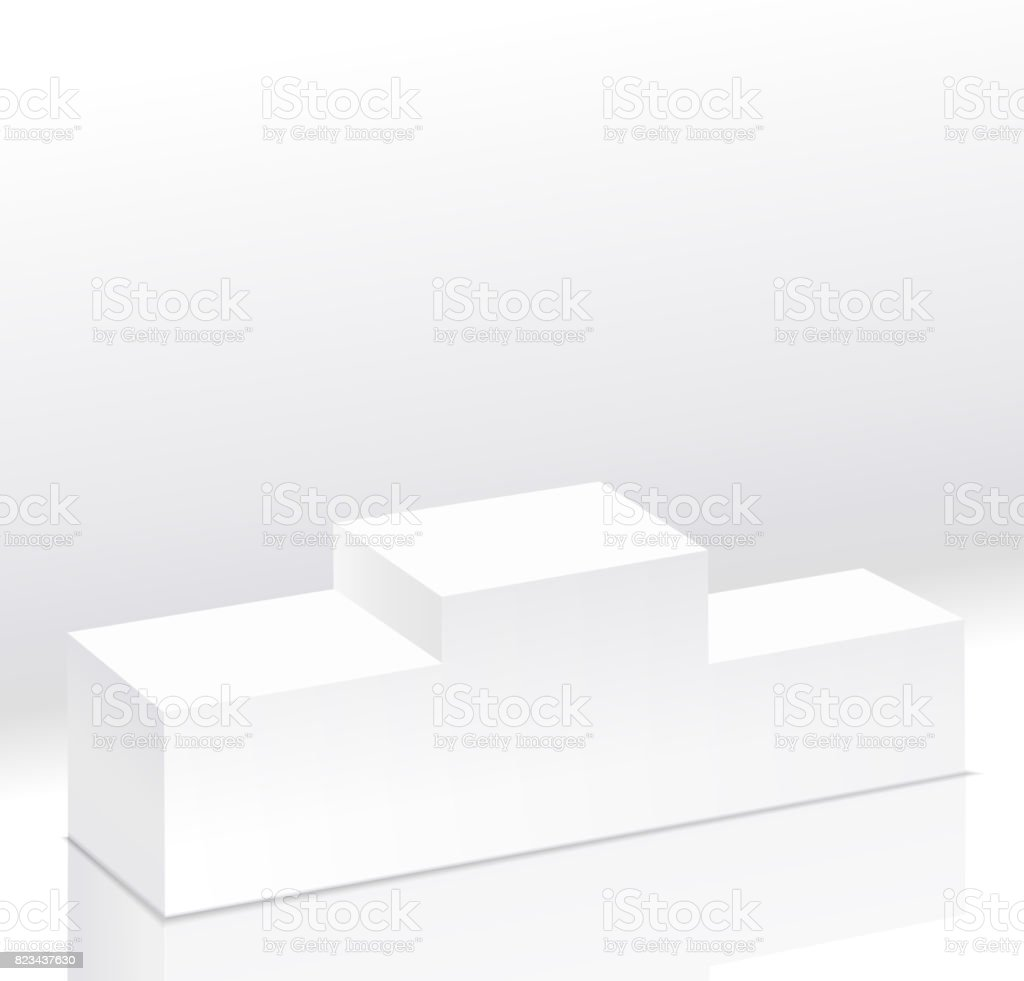 Sport winners white podium isolated vector.Pedestal side view. Right view. 3d style illustration. Clear pedestal on light background vector art illustration