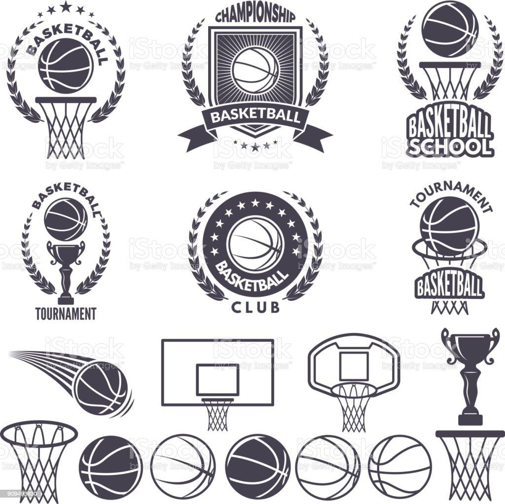 スポーツ バスケット ボール モノクロ写真。ベクトル ラベル セットを白を分離します。 ベクターアートイラスト
