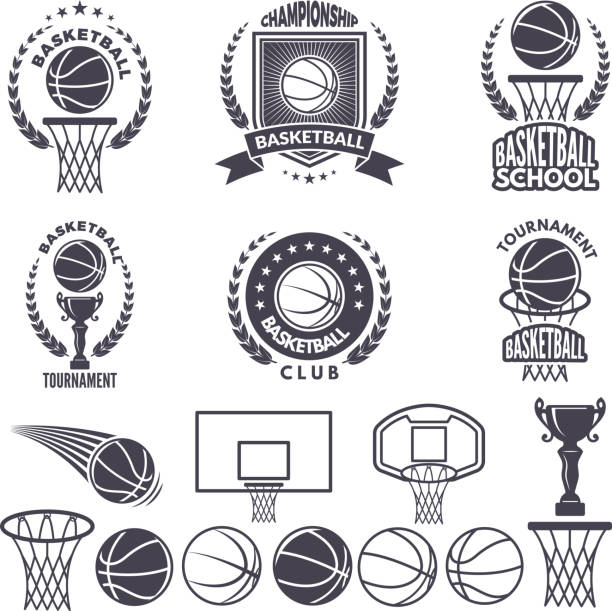 Sport with basketball monochrome pictures. Vector labels set isolate on white vector art illustration