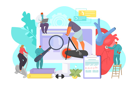 Sport with doctor support, medicine technology at computer concept, vector illustration. Man woman people character training near digital screen.