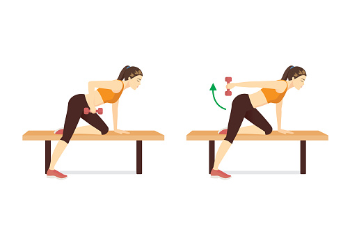 Sport Woman doing One Arm The dumbbell kickback Exercise on Bench in 2 steps. target on Triceps muscles and shoulders. Fitness during stay at home.