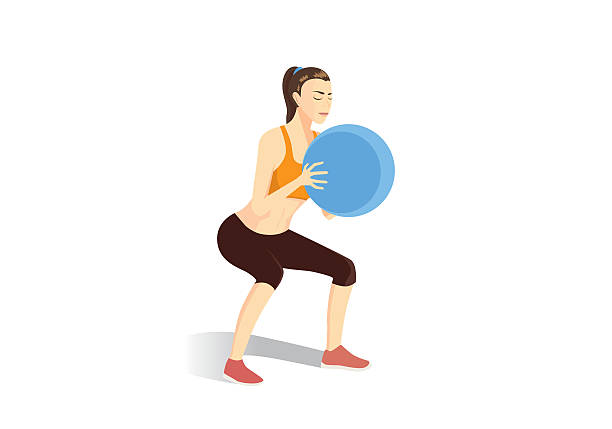 Sport woman doing squat exercises with fitness ball. vector art illustration