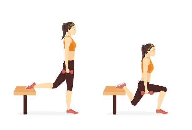 Sport woman doing the Bulgarian Split Squat with Bench and dumbbell in 2 steps. Fitness diagram about a very challenging workout. vector art illustration