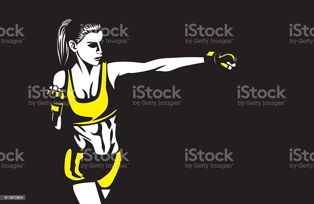 Sport woman in sportswear punching vector art illustration