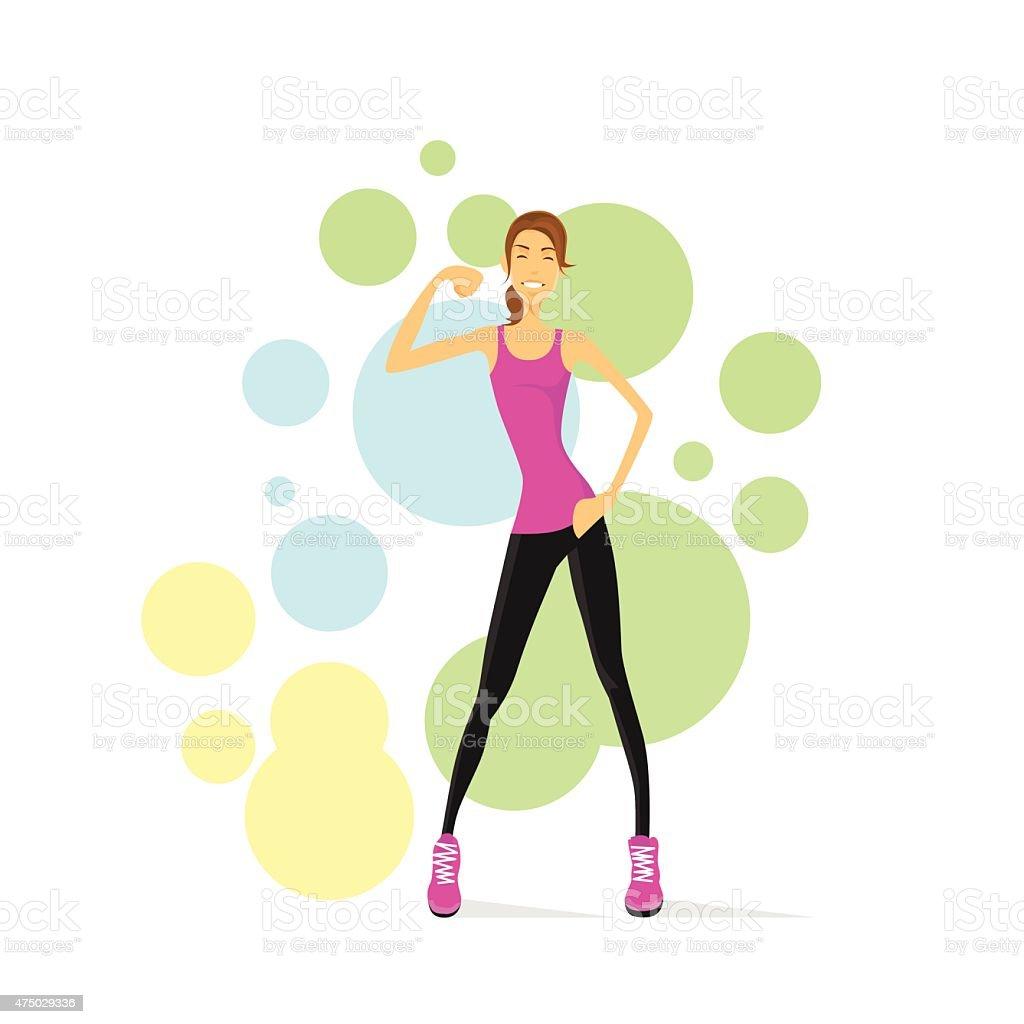 Sport Frau Zeigen Bizeps Muskeln Fitnesstrainer Stock Vektor Art und ...