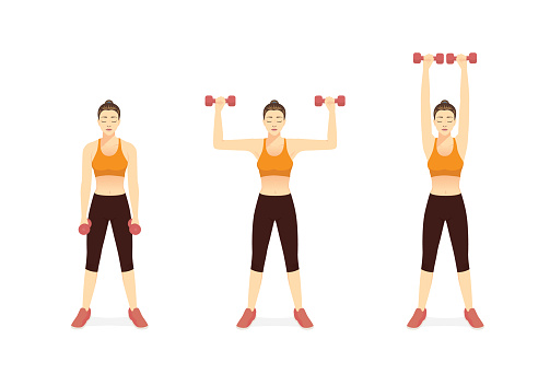 Sport Women doing Fitness with Dumbbell Biceps Curl to Shoulder Press Exercise in 3 steps. Fitness with workout equipment of gym.