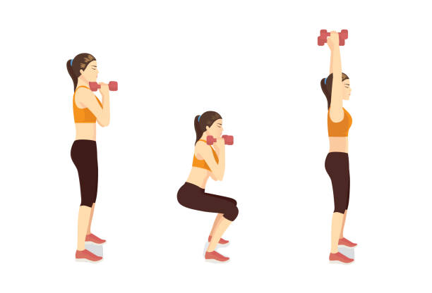 Sport Women doing Fitness with Dumbbell Squat and Overhead Press Exercise in 3 steps. How to easy Fitness training target to Arms muscles. side view. vector art illustration
