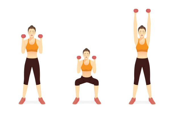 Sport Women doing Fitness with Dumbbell Squat and Overhead Press Exercise in 3 steps. Diagram of How to easy Fitness. vector art illustration