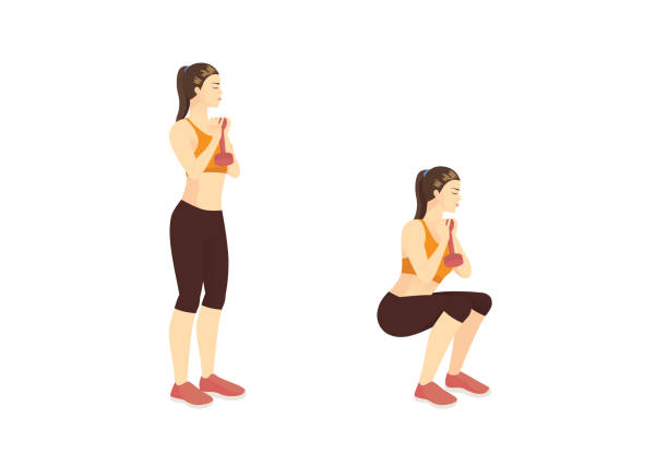 Sport women doing Fitness with Narrow-Stance Goblet Squat while dumbbell vertically in front of the chest in 2 steps.Hips Exercise training. vector art illustration