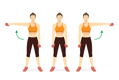 Sport Women doing Fitness with side dumbbell raise in left and right arm. Cheat Lateral Dumbbell Raise. Exercise diagram to build shoulder and arm muscles.