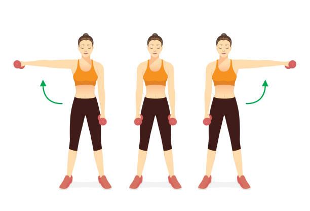 Sport Women doing Fitness with side dumbbell raise in left and right arm. Cheat Lateral Dumbbell Raise. Exercise diagram to build shoulder and arm muscles. vector art illustration