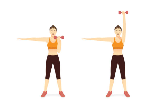 Sport Women doing Fitness with Single Arm Overhead Press Dumbbell Exercise in 2 steps. Diagram of How to easy Fitness training target to Arms muscles. front view. vector art illustration