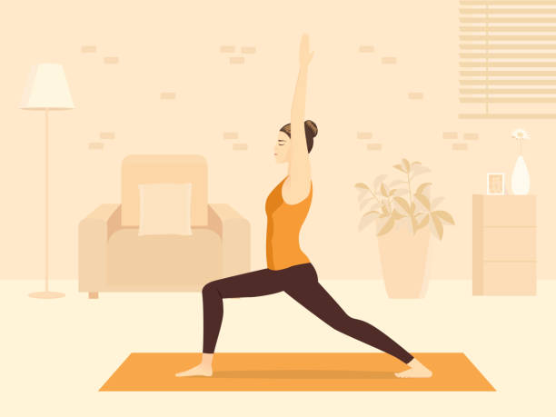 Sport Women doing yoga pose in Warrior Pose in the living room. The New normal about fitness at home for health and Practice meditation. vector art illustration