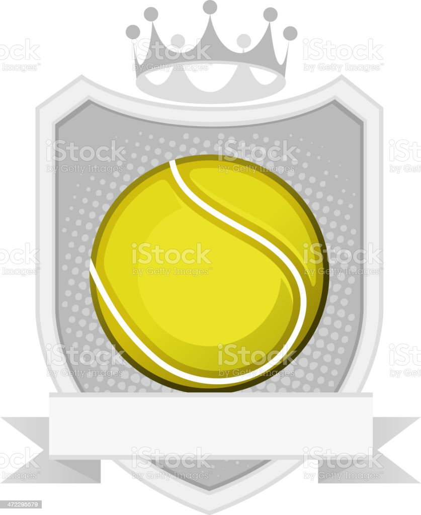 Sport Yellow Tennis Ball Equipment Emblem with Crown and badge vector...